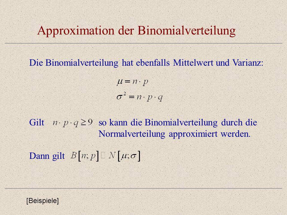 Approximation der Binomialverteilung