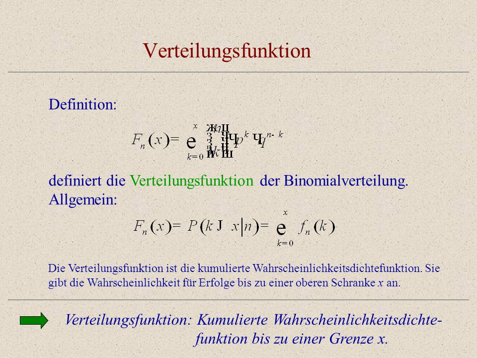 Verteilungsfunktion Definition: