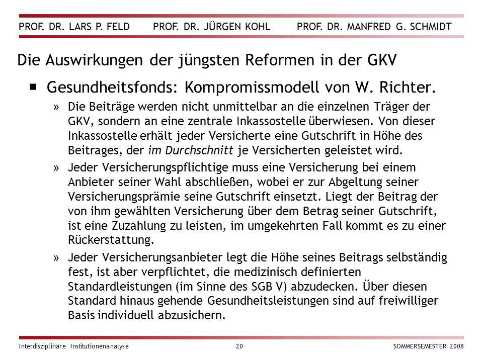 Die Auswirkungen der jüngsten Reformen in der GKV