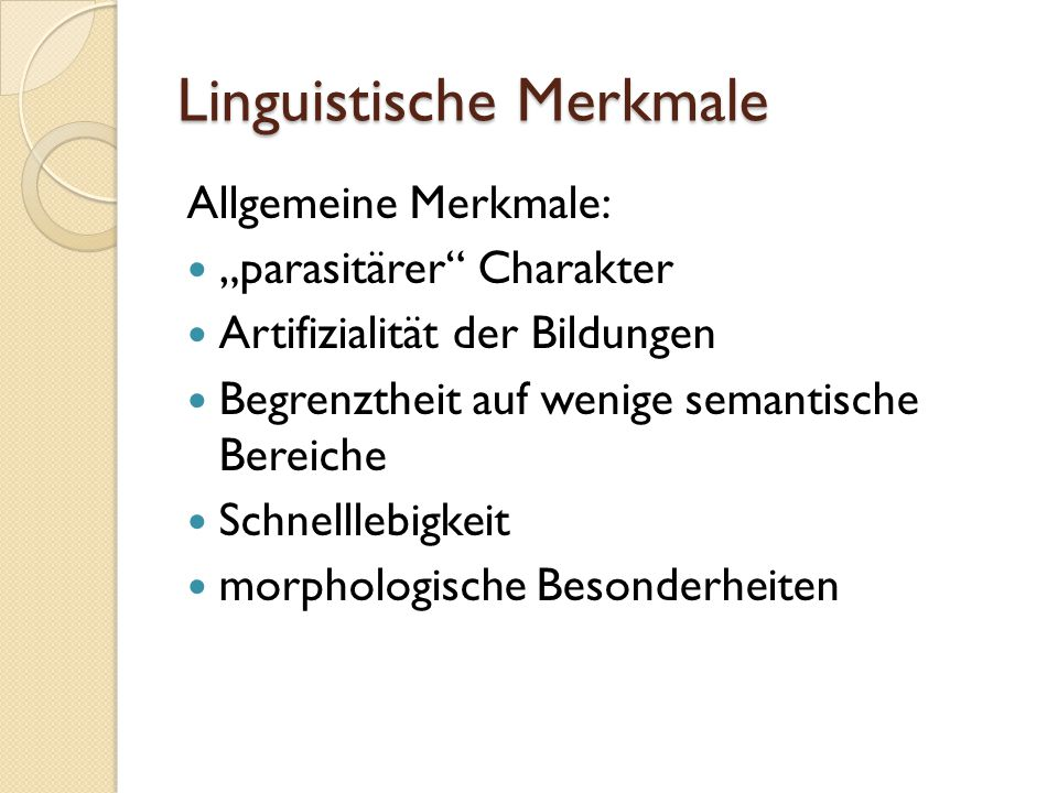 Linguistische Merkmale
