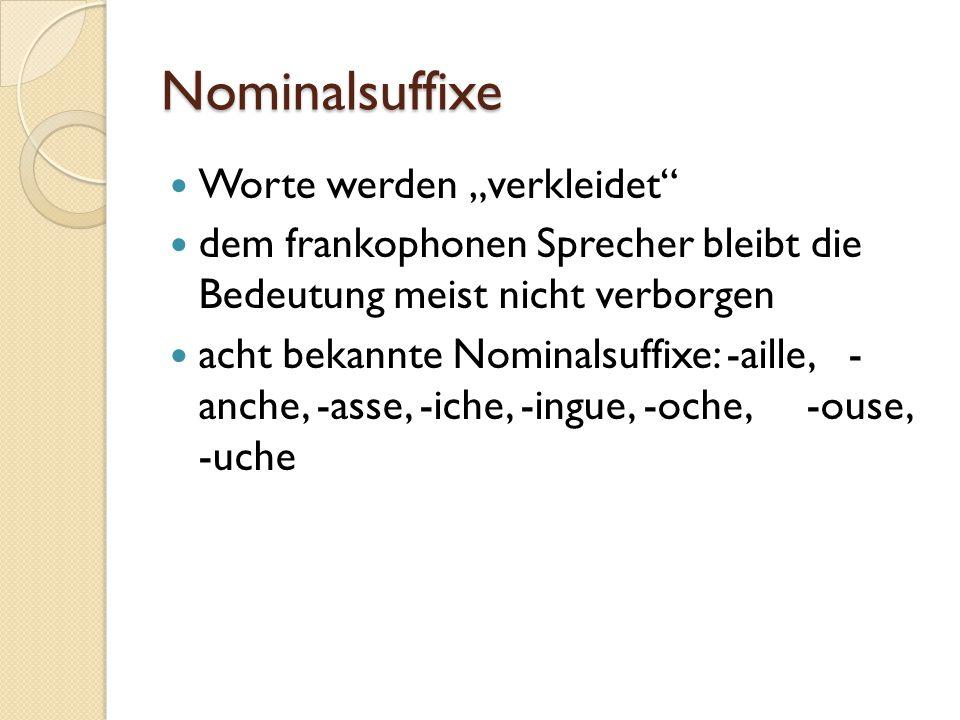 """Nominalsuffixe Worte werden """"verkleidet"""