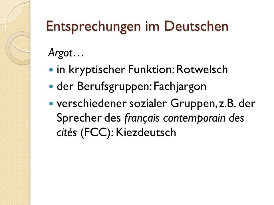 Entsprechungen im Deutschen