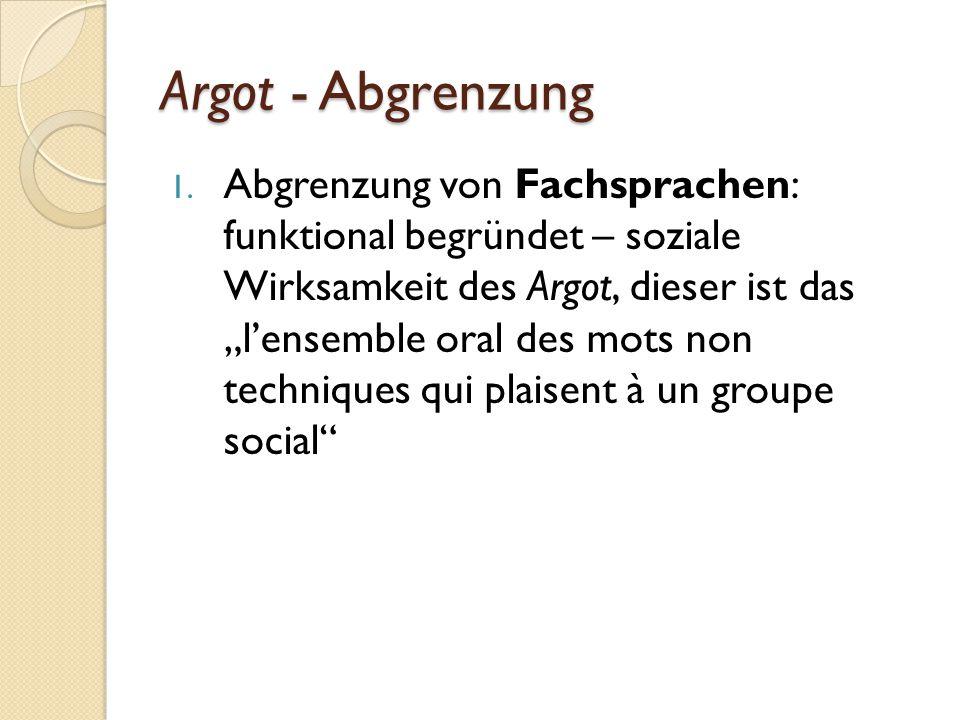 Argot - Abgrenzung