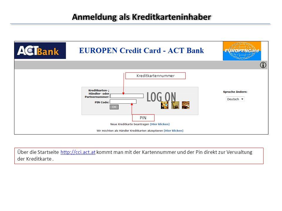 Anmeldung als Kreditkarteninhaber