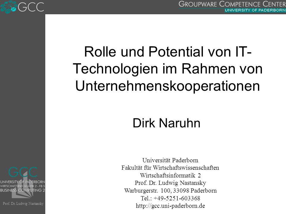 Rolle und Potential von IT-Technologien im Rahmen von Unternehmenskooperationen