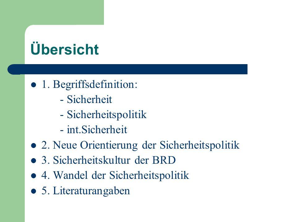 Übersicht 1. Begriffsdefinition: - Sicherheit - Sicherheitspolitik