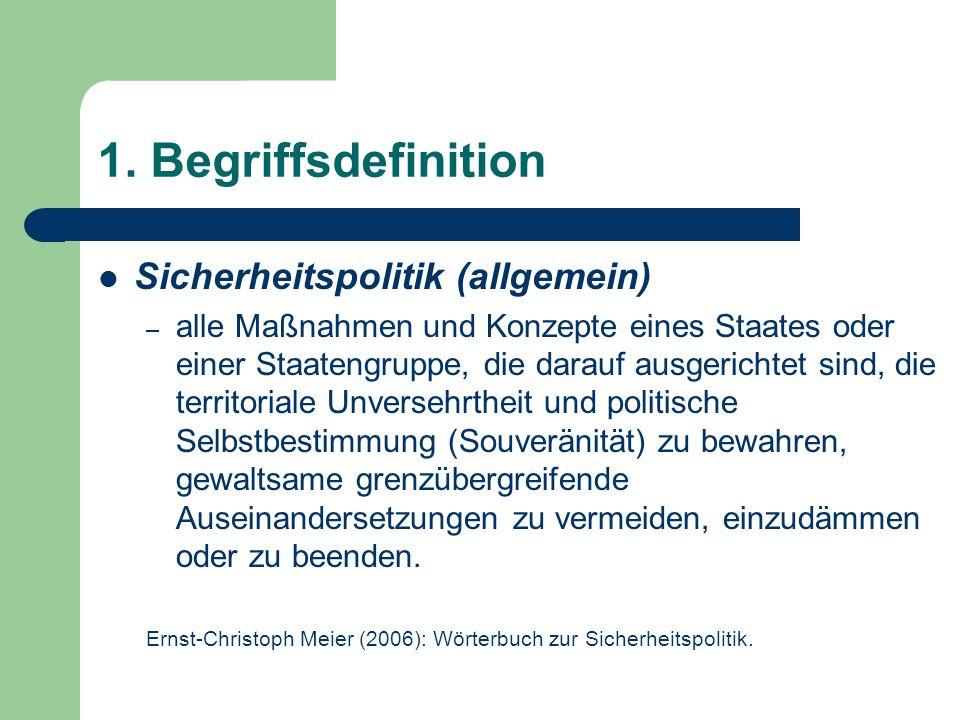 1. Begriffsdefinition Sicherheitspolitik (allgemein)
