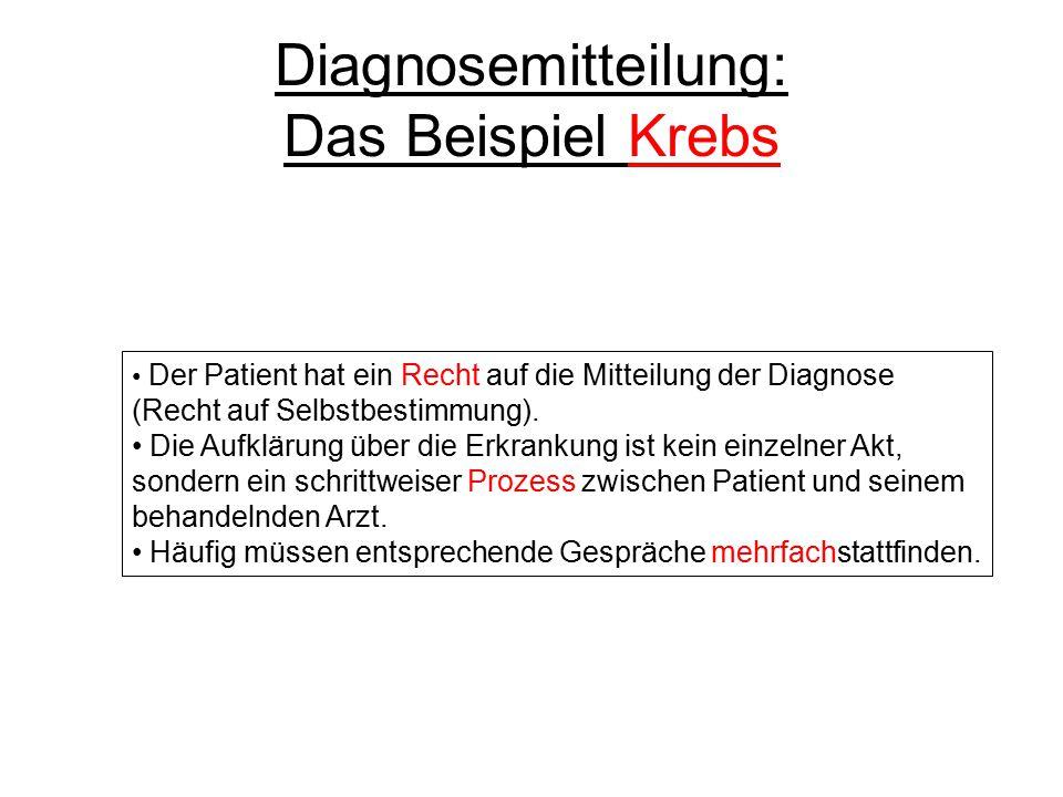 Diagnosemitteilung: Das Beispiel Krebs