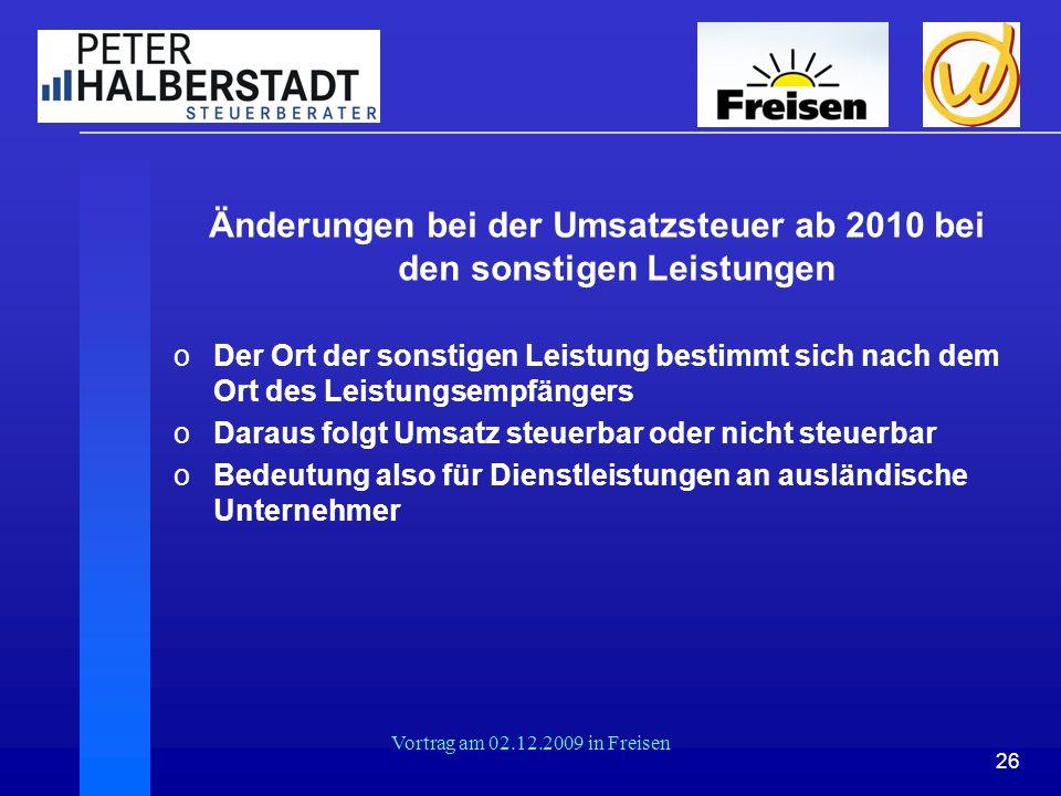 Änderungen bei der Umsatzsteuer ab 2010 bei den sonstigen Leistungen