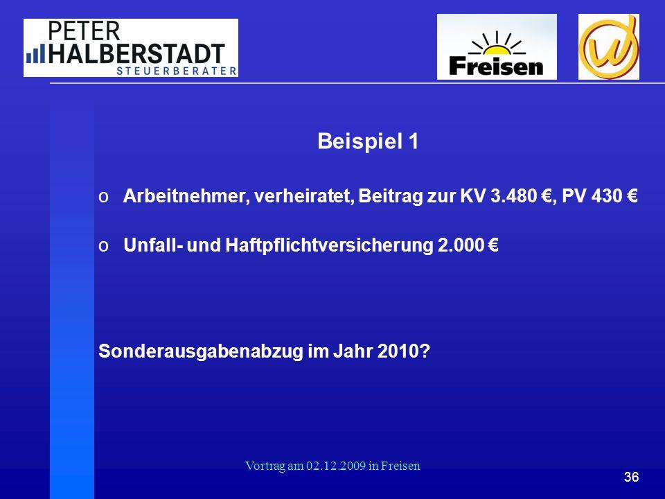 Beispiel 1 Arbeitnehmer, verheiratet, Beitrag zur KV 3.480 €, PV 430 €