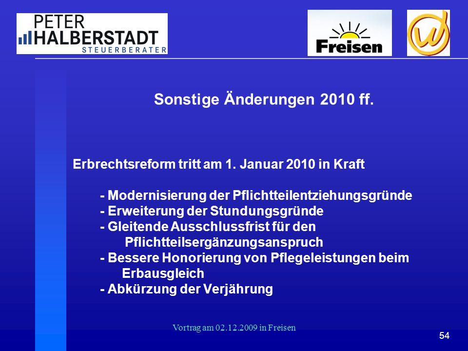 Sonstige Änderungen 2010 ff.