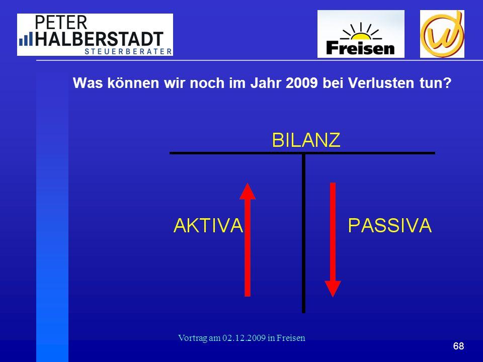 Was können wir noch im Jahr 2009 bei Verlusten tun