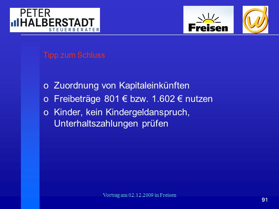 Zuordnung von Kapitaleinkünften Freibeträge 801 € bzw. 1.602 € nutzen
