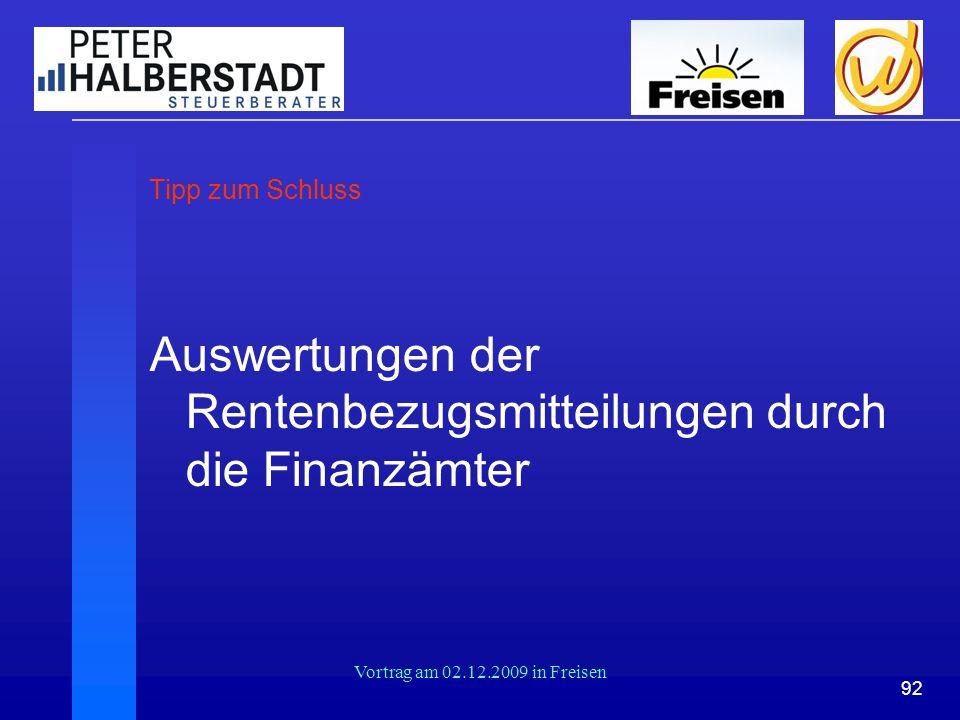 Auswertungen der Rentenbezugsmitteilungen durch die Finanzämter