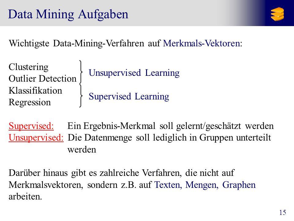 Data Mining Aufgaben Wichtigste Data-Mining-Verfahren auf Merkmals-Vektoren: Clustering. Outlier Detection.