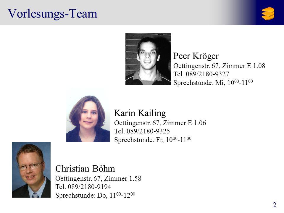 Vorlesungs-Team Peer Kröger Karin Kailing Christian Böhm
