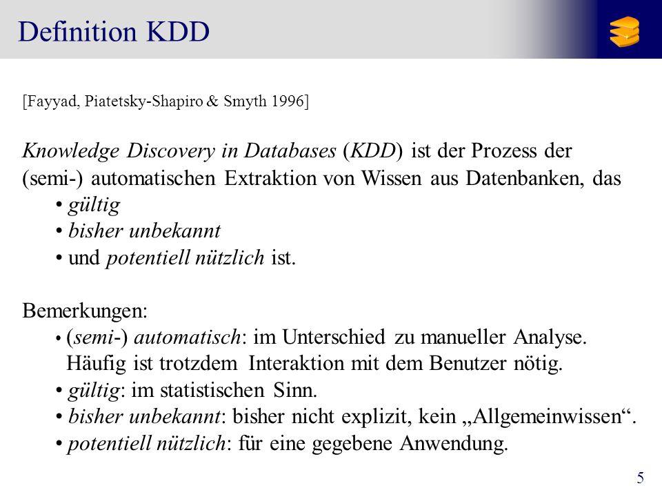 Definition KDD gültig bisher unbekannt und potentiell nützlich ist.