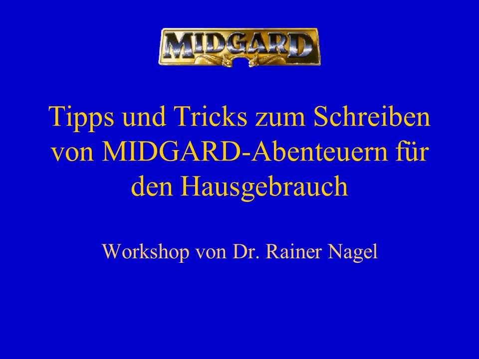 Workshop von Dr. Rainer Nagel