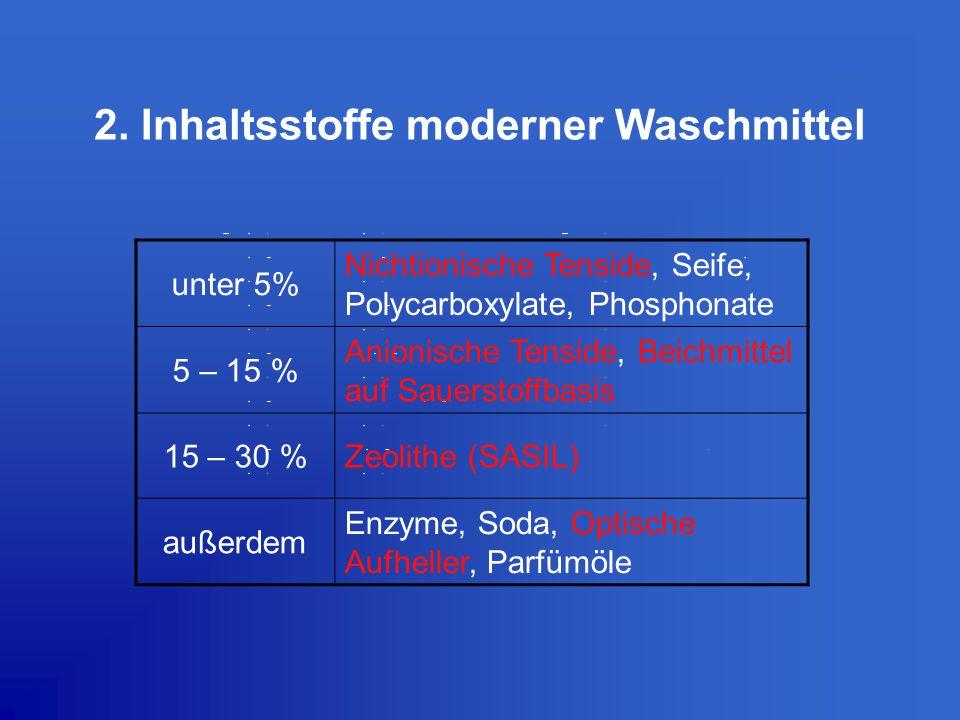 2. Inhaltsstoffe moderner Waschmittel