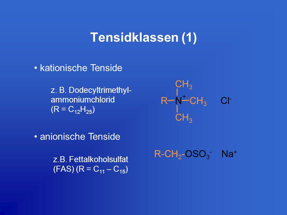 Tensidklassen (1) kationische Tenside anionische Tenside
