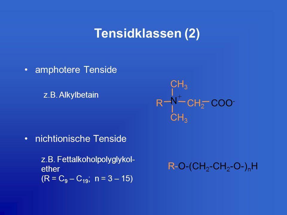 Tensidklassen (2) amphotere Tenside nichtionische Tenside