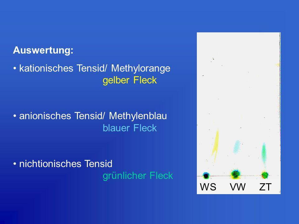 Auswertung: kationisches Tensid/ Methylorange gelber Fleck. anionisches Tensid/ Methylenblau blauer Fleck.