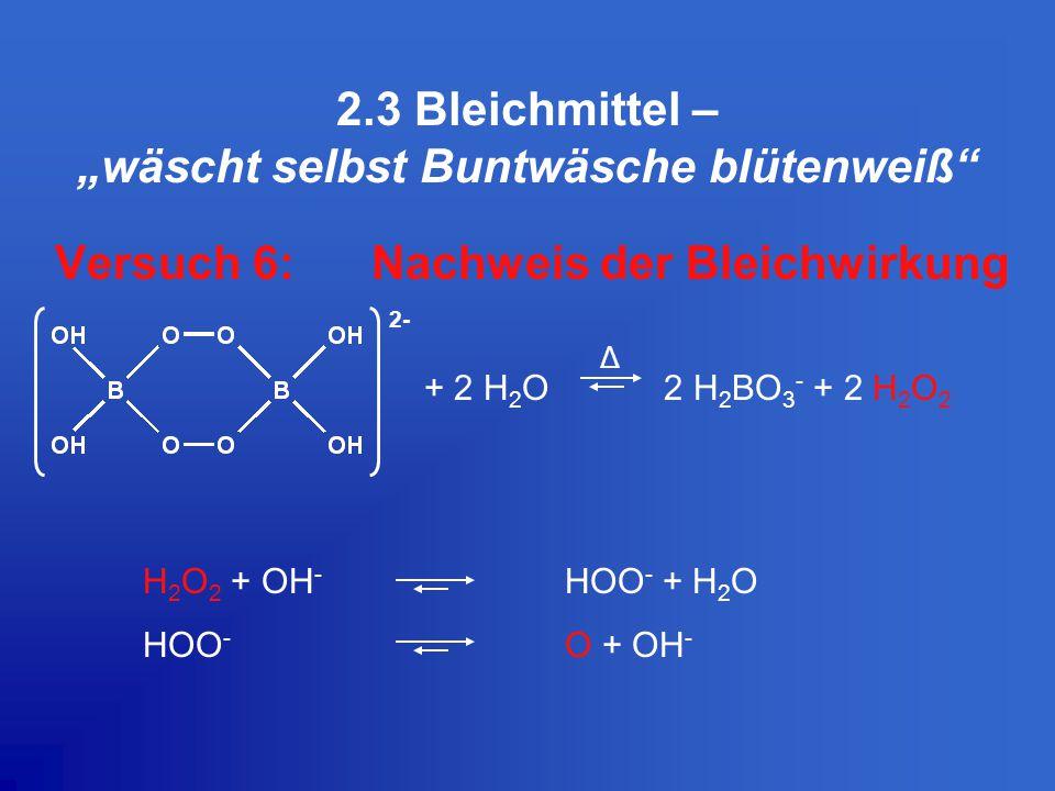 """2.3 Bleichmittel – """"wäscht selbst Buntwäsche blütenweiß"""
