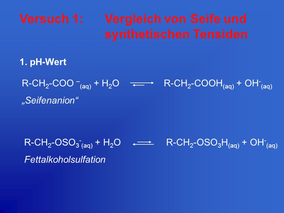 Versuch 1: Vergleich von Seife und synthetischen Tensiden