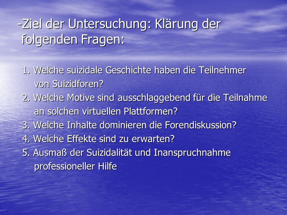 Ziel der Untersuchung: Klärung der folgenden Fragen: