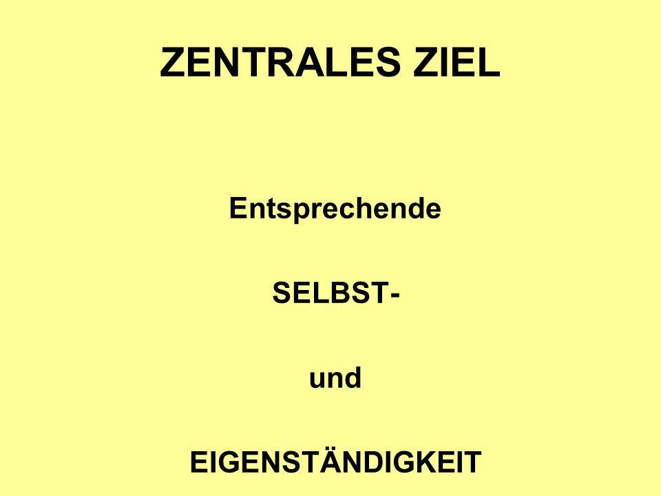 ZENTRALES ZIEL Entsprechende SELBST- und EIGENSTÄNDIGKEIT