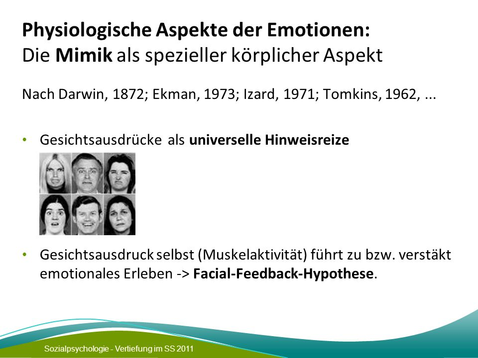 Physiologische Aspekte der Emotionen: Die Mimik als spezieller körplicher Aspekt