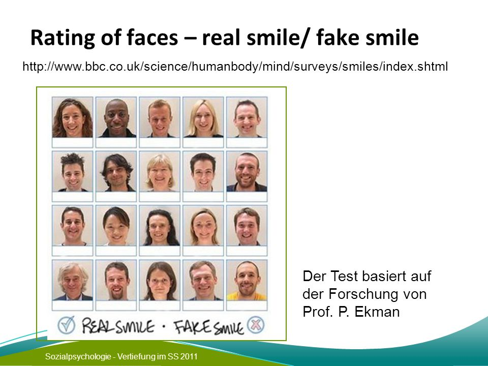 Rating of faces – real smile/ fake smile