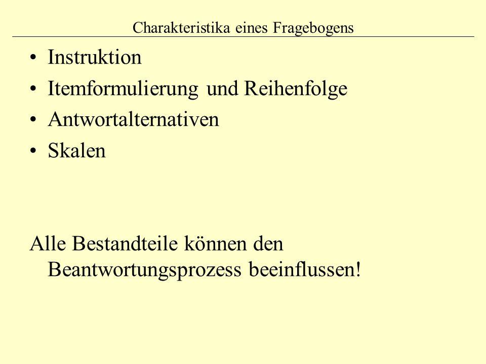 Charakteristika eines Fragebogens