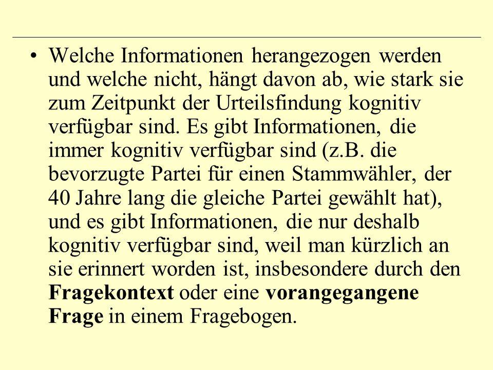 Welche Informationen herangezogen werden und welche nicht, hängt davon ab, wie stark sie zum Zeitpunkt der Urteilsfindung kognitiv verfügbar sind.