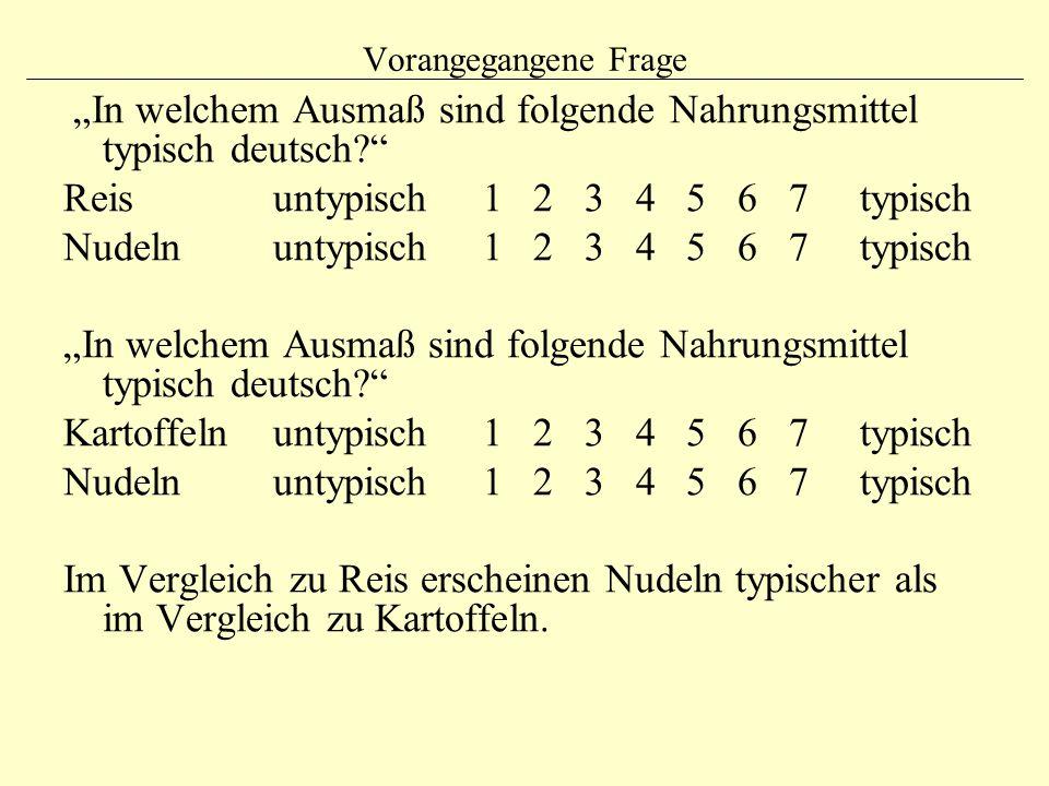 """""""In welchem Ausmaß sind folgende Nahrungsmittel typisch deutsch"""
