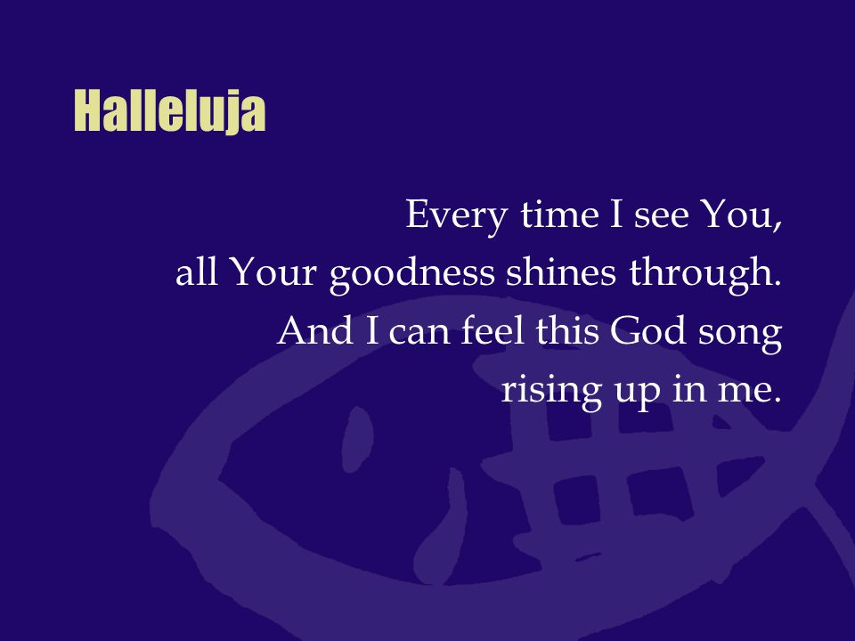 Halleluja Every time I see You, all Your goodness shines through.