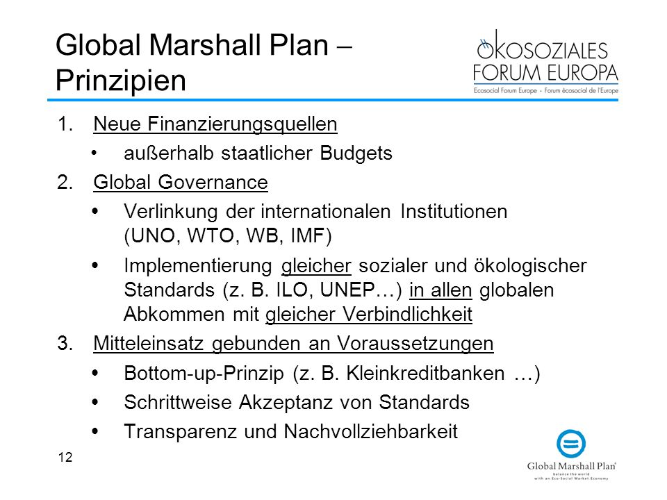 Global Marshall Plan  Prinzipien