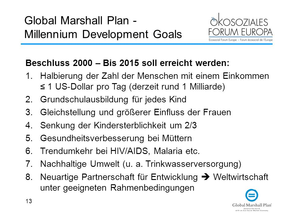 Global Marshall Plan - Millennium Development Goals