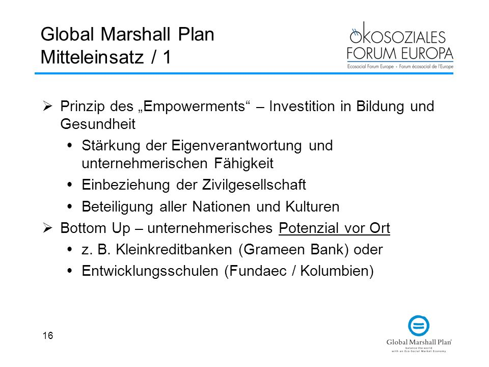 Global Marshall Plan Mitteleinsatz / 1