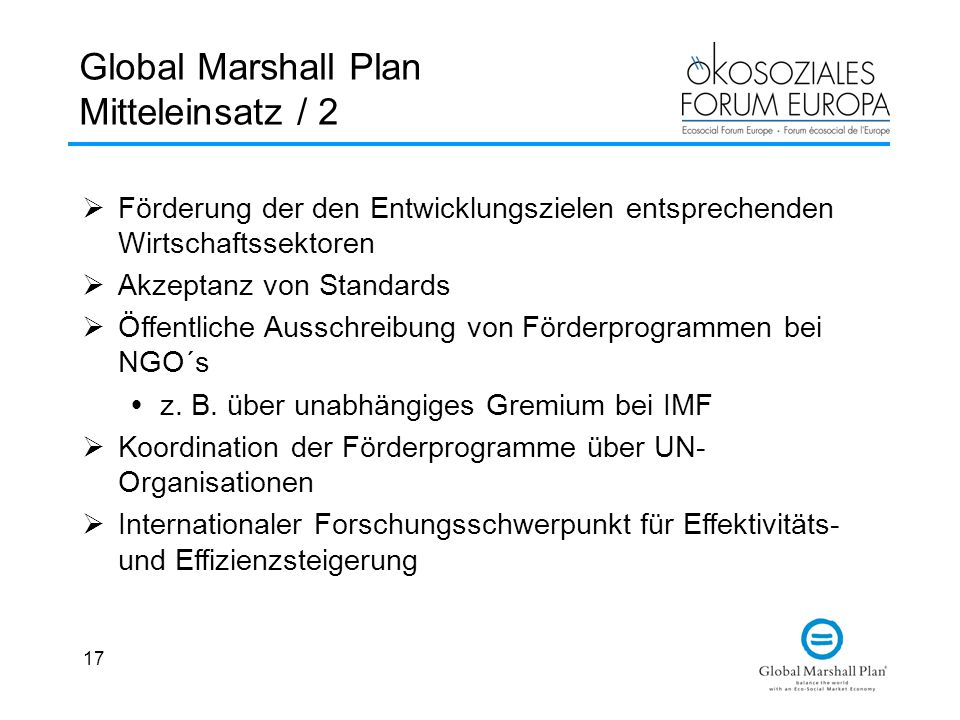 Global Marshall Plan Mitteleinsatz / 2