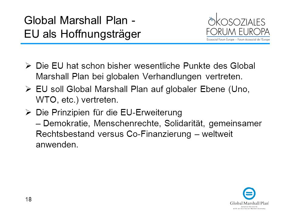 Global Marshall Plan - EU als Hoffnungsträger