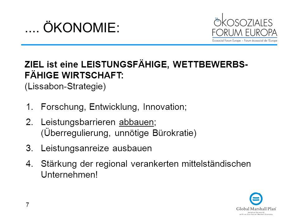 .... ÖKONOMIE: ZIEL ist eine LEISTUNGSFÄHIGE, WETTBEWERBS-FÄHIGE WIRTSCHAFT: (Lissabon-Strategie) Forschung, Entwicklung, Innovation;