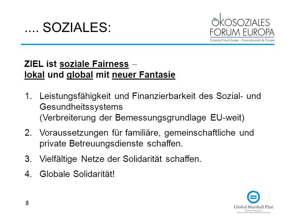 .... SOZIALES: ZIEL ist soziale Fairness  lokal und global mit neuer Fantasie.