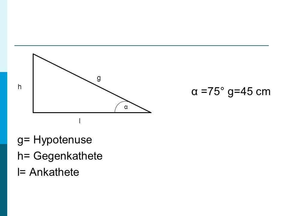 α =75° g=45 cm g= Hypotenuse h= Gegenkathete l= Ankathete