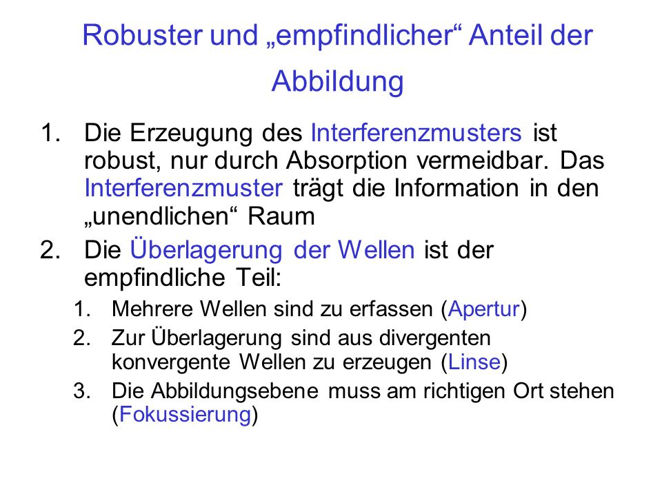 """Robuster und """"empfindlicher Anteil der Abbildung"""