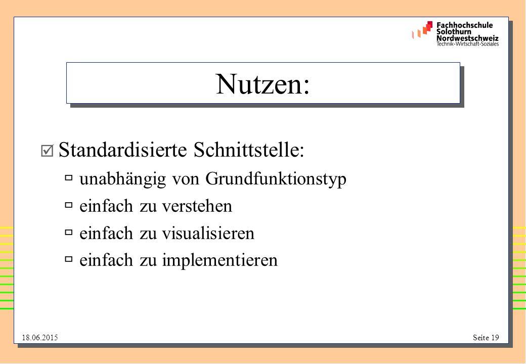 Nutzen: Standardisierte Schnittstelle: