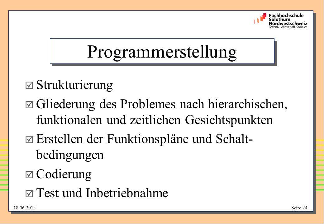 Programmerstellung Strukturierung
