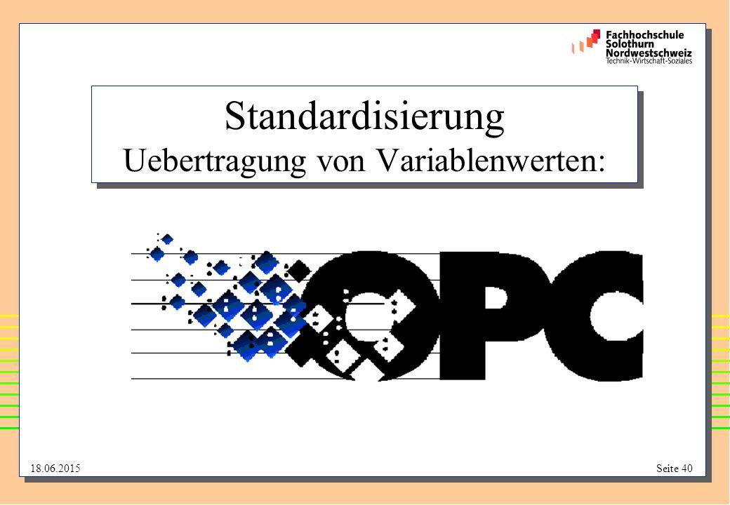 Standardisierung Uebertragung von Variablenwerten: