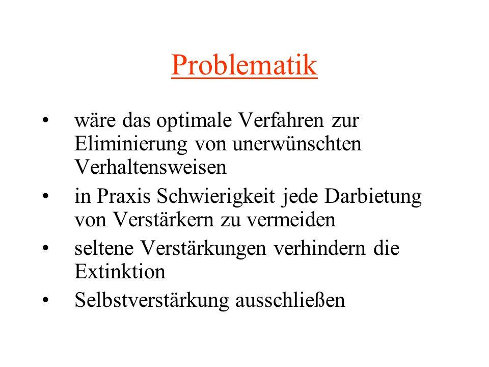 Problematik wäre das optimale Verfahren zur Eliminierung von unerwünschten Verhaltensweisen.