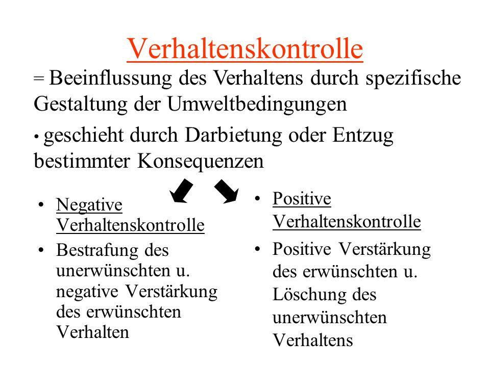 Verhaltenskontrolle = Beeinflussung des Verhaltens durch spezifische Gestaltung der Umweltbedingungen.